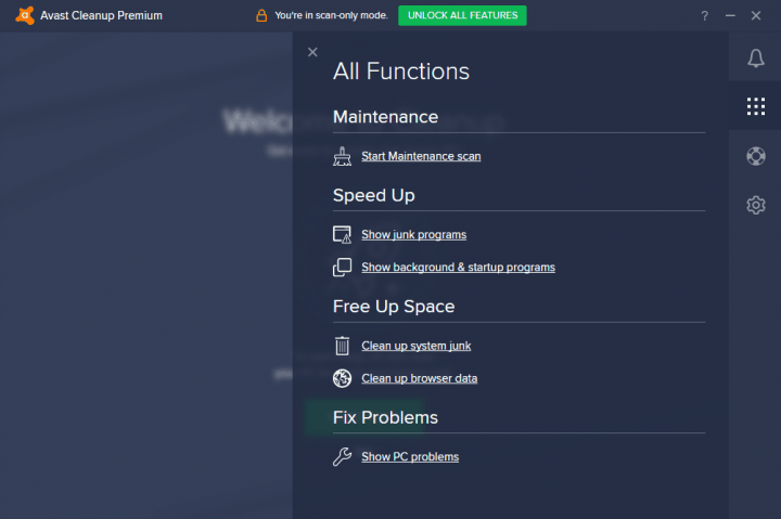 All functions of Avast Cleanup Premium