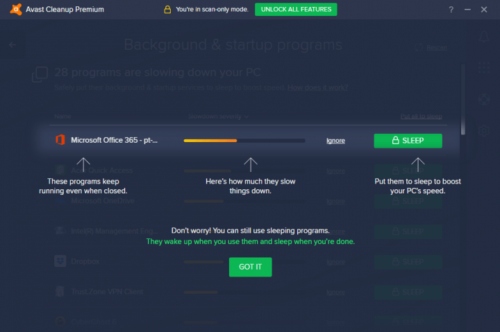 Avast Cleanup Premium's ability to put programs to sleep