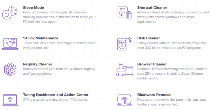 Avast Cleanup Premium website features