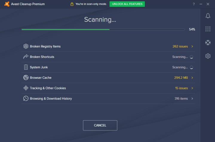 Avast Cleanup Premium scanning