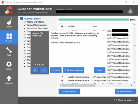 CCleaner registry details