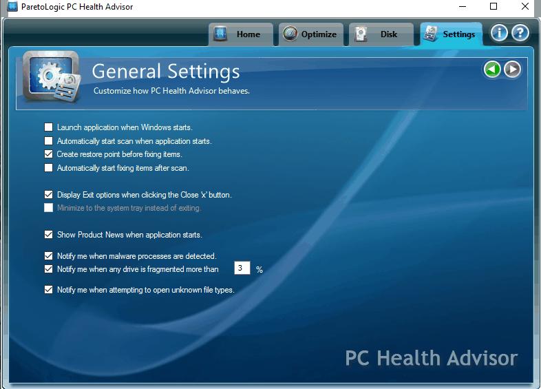 PC Health Advisor Settings