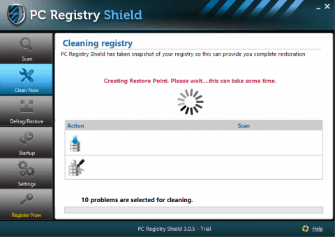 PC Registry Shield Restore Point Creation