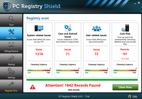 PC Registry Shield Scan Results
