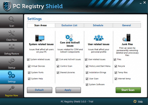 PC Registry Shield Settings