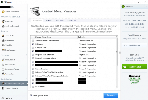 PCKeeper live Context menu manager