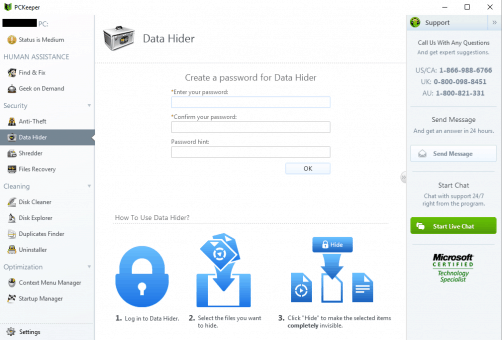 PCKeeper Live Data Hider Feature