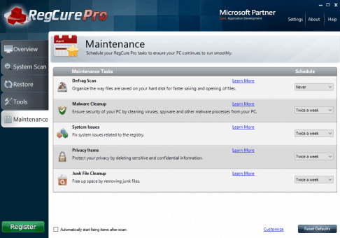 RegCure Pro Maintenance Tasks