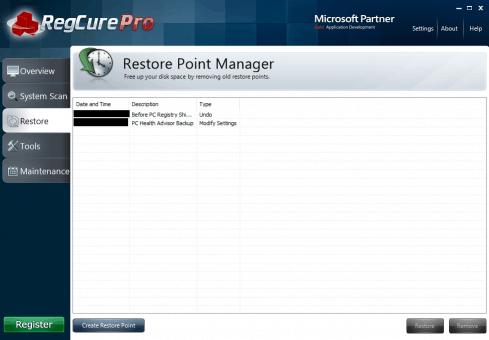 RegCure Pro's Restore Points