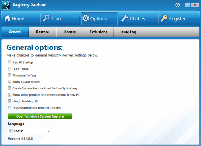 Registry Reviver General Options