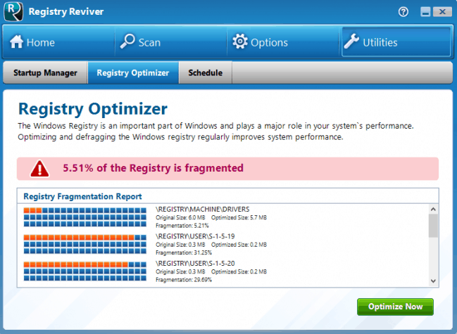 Registry Reviver's Registry Defragmentation