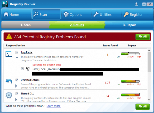 Registry Reviver scan results