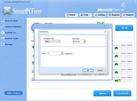SmartPCFixer's Scan Scheduler