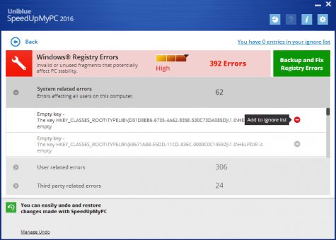 SpeedUpMyPC's Log Details