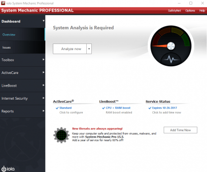 System Mechanic Pro dashboard